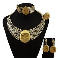 Luxury hollow necklace set Dubai gold jewelry sets for women Nigerian wedding jewellery Indian jewelry sets stud drop earring