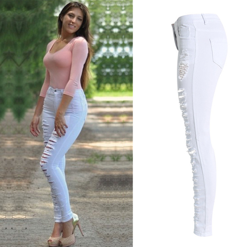 Sexy Womens High Waist Skinny Ripped Boyfriend Casual Slim Fit Cool Hole Denim Cotton Jeans Stretchy