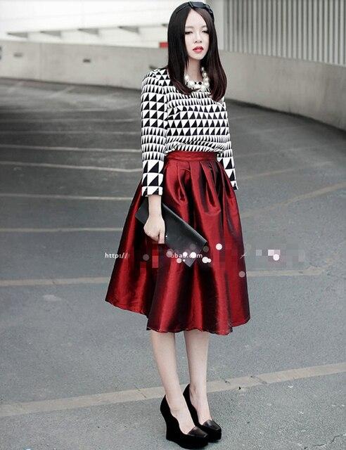 8c4a52161e 4 Color Plus Size M L XL Vintage Pleated Midi Skirt Elegant Women High  Waist Ball Gown Satin Long Skirts Party Club Wear Newest