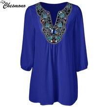 chesmono 2017 Summer Women Shirt Blouse Style Fashion Chiffon three quarter Sleeve Casual Top Embroidery pinup lady Tunic blouse
