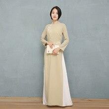 ФОТО 2018 summer japanese aodai three quarter kimonos direct selling polyester women ao dai sleeve vietnam aodai cheongsam dress