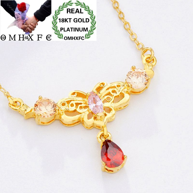 MHXFC Wholesale European Fashion Female Party Wedding Gift Red Purple Water Drop Zircon Real 18KT Gold Pendant Necklace NL154MHXFC Wholesale European Fashion Female Party Wedding Gift Red Purple Water Drop Zircon Real 18KT Gold Pendant Necklace NL154