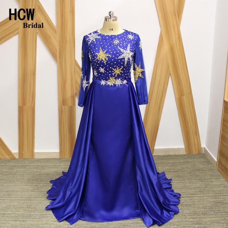 Вечерна рокля с дълъг ръкав Royal Blue с дълъг ръкав 2019 Невероятни звезди от мъниста сатенена русалка Дълга вечерна рокля Изискани арабски парти рокли