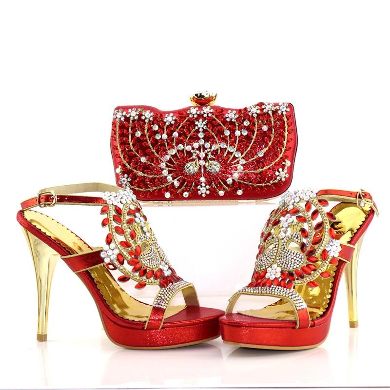 Bolso Africano Embragues Aso Bolsa 4 Sb8179 Manera De Boda Alto Talón Sandalias Ebi Llenas Piedras Del Zapatos Rojo Zapato La Y PIBBdrxw
