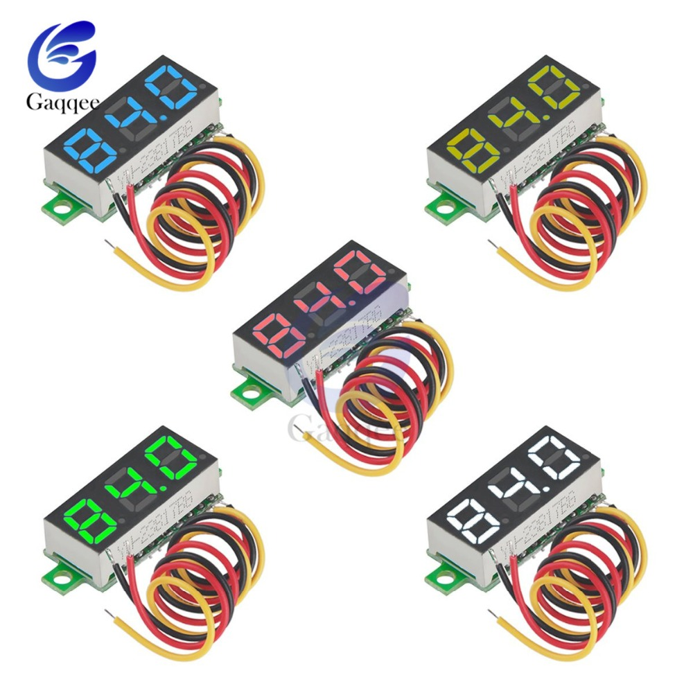 0.28 Inch DC LED Digital Voltmeter 0-100V Voltage Meter Auto Car Mobile Power Voltage Tester Detector 12V Red Green Blue Yellow
