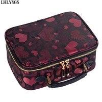 LHLYSGS Brand Women Big Capacity Waterproof Portable Toiletry Bag Organizer Handbag Cosmetic Case Cute Wash Bags