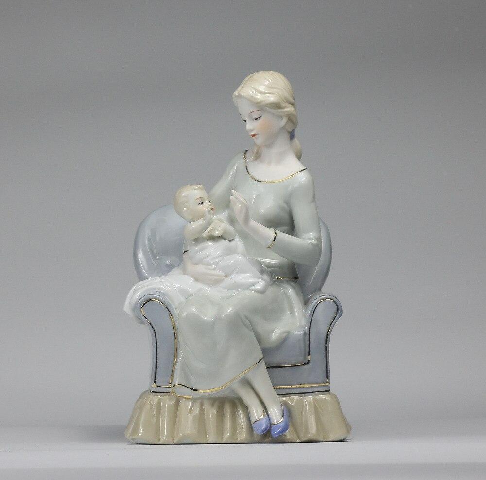 Ev ve Bahçe'ten Heykelcikler ve Minyatürler'de Nostaljik Porselen Anne ve Bebek Heykel Dekor Seramik Motherliness Heykelciği Zanaat Süsleme Hediye Anne ve Doğum Günü'da  Grup 1