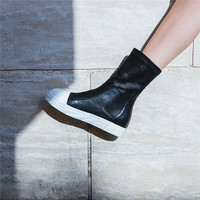 LOVEXSS Woman Genuine Leather Ankle Boots Black Autumn Winter Martin Boots Plus Size 34 43 Genuine