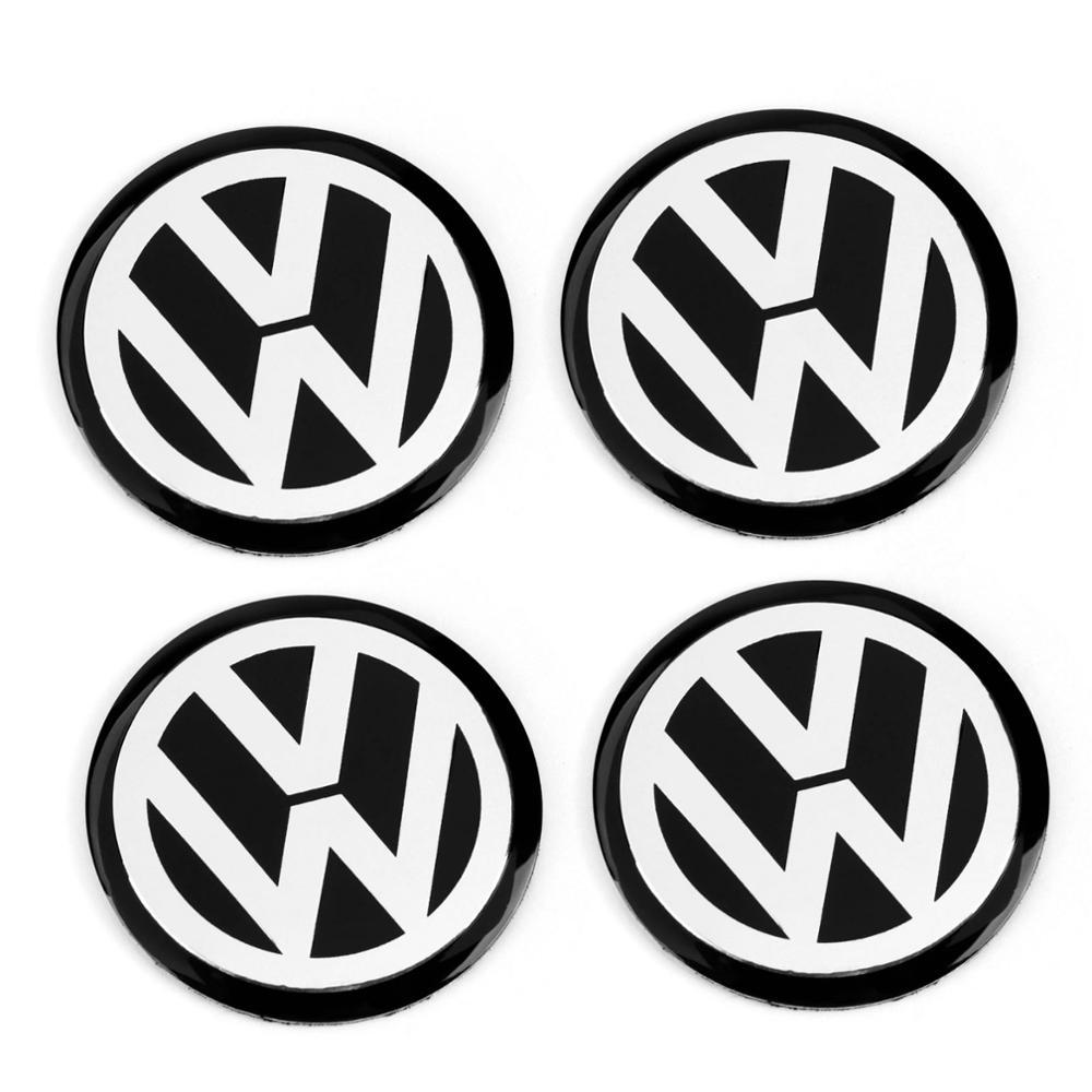 4pcs 56mm 60mm 65mm 75mm 90mm Black Car Wheel Center Hub Cap Badge Logo Emblem Decal Wheel Sticker Styling For VW 1