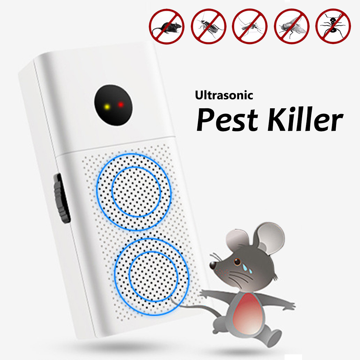 2018 US Plug ltrasonic Pest Repeller Electronic Pest Control Home Anti Fly Mosquito Repellent Killer Rodent Bug Rejector Mice