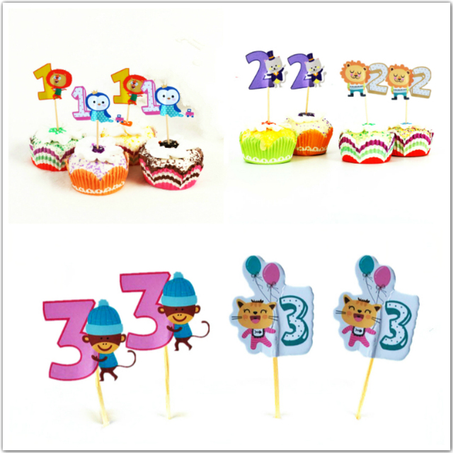 24pcs Cartoon Animal Number Cupcake Topper 1 2 3 Years Old Birthday Party Decor Baby Boy Girl I AM ONE TWO Three Supplies