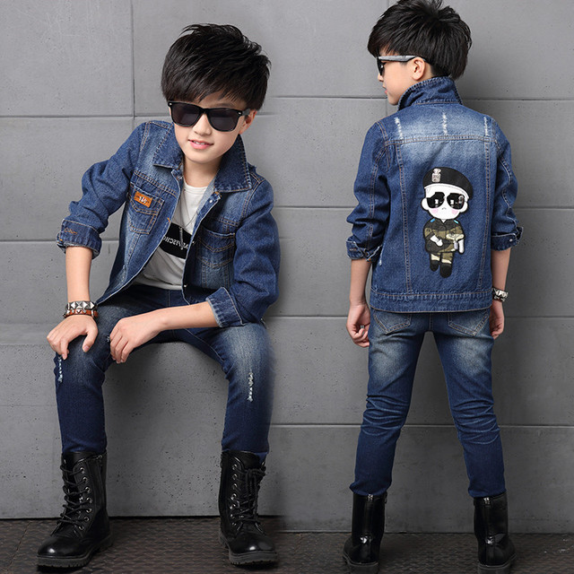 Autumn British Style Children S Clothing Boys Stylish Denim Jacket