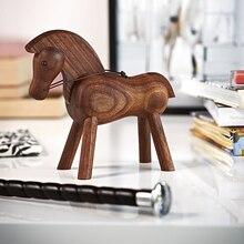 111 טהור בעבודת יד גלגל המזלות סוס טרויאני קישוט דני מוצק עץ creative עיצוב הבית שחור אגוז טרויאני