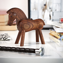 111 pure hand made Zodiac Trojan horse decoration Danish solid wood creative home decoration black walnut Trojan