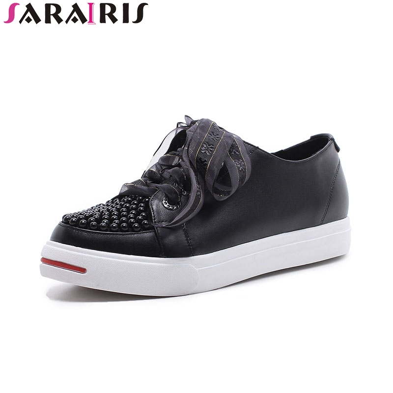SARAIRIS 2018 hot sale size 33-40genuine leather Flats Shoes Woman black white Casual beading loafers Women Shoes footwear 2016 new arrival woman flats genuine leather white women casual shoes platform hot sale designer flat shoes drop shipping