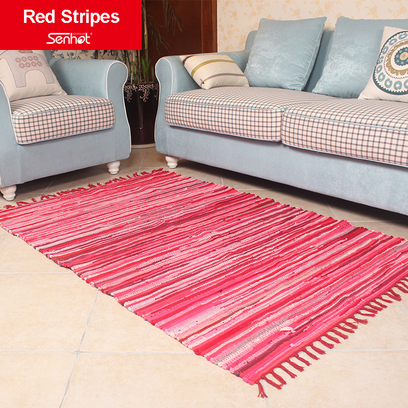115173cm Fringed Carpet Cloth Stripes Garden Style Mat Living Room Bedroom Rug Weaving Country