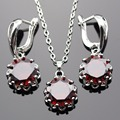 Lan Romantic Geometric  Shaped Fashionable Jewelry Sets Red   AAA Zircon For Necklace Pendant /Earring /Ring Free Shipping