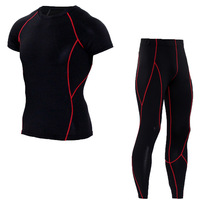 2PCS Gyms Compression Sets Long Sleeve Tees Long Pants Bodybuilding Suits Striped Clothing Elastic Waist Workout