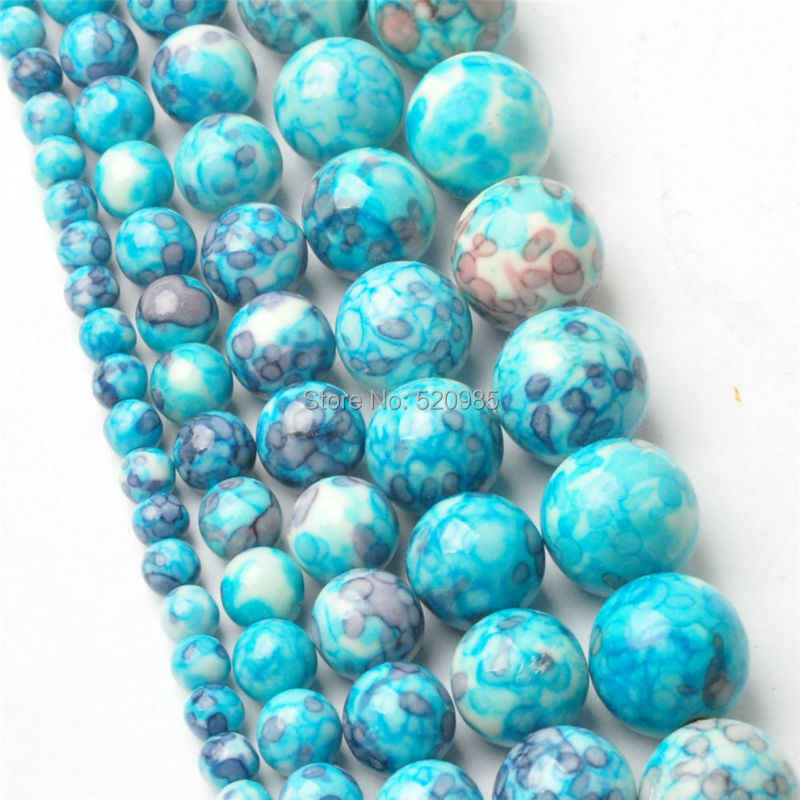 Free Shipping Natural Blue Dots Rainbow Stones Round Spacer Loose Beads For Necklace Bracelet Charms Jewelry RBSB03