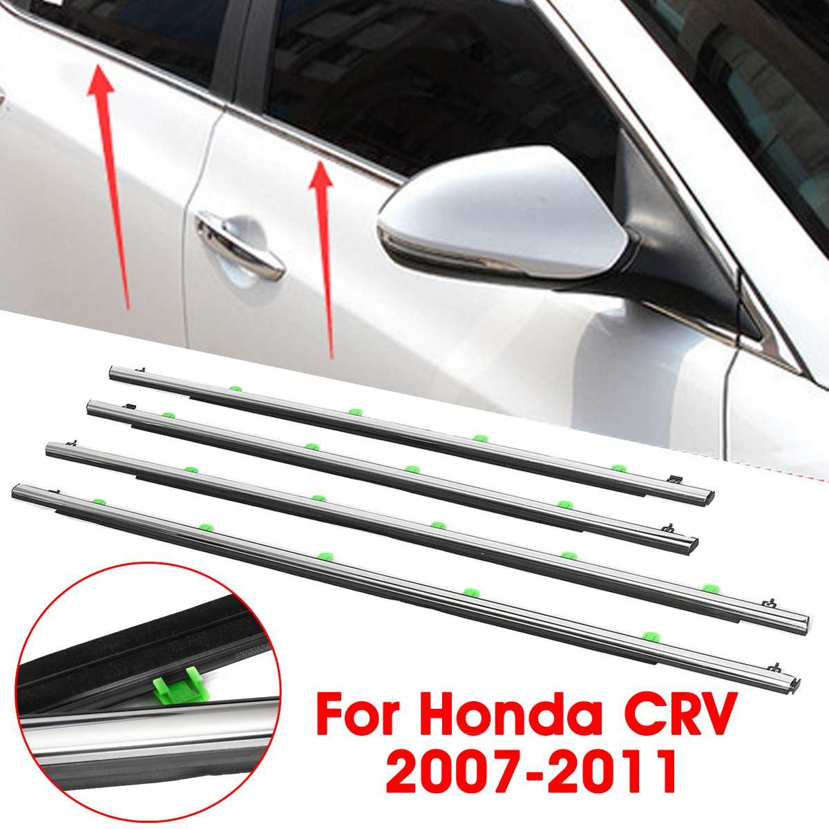 FL FR RL RR Car Chrome Outside Window Door Belt Weatherstrip Fit For CR-V 07-11