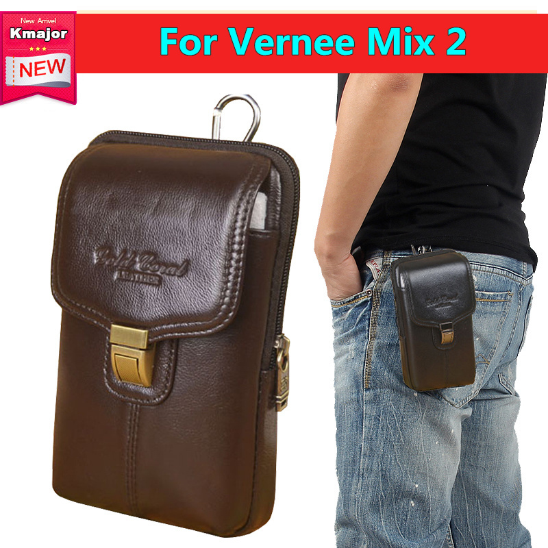 Genuine Leather Double Deck Pouch Clip Waist Purse Case Cover For Vernee Mix 2 6 0inche
