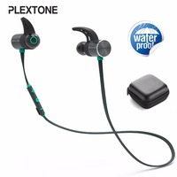 Plextone BX343 Bluetooth Earphones IPX5 Waterproof Sport Wireless Headphone Earbuds Magnetic Headset With Microphone Black Color