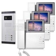 DIYSECUR 4.3″ HD Apartment Video Door Phone Video Intercom Doorbell System 700 TVLine IR Camera Touch Key for 3 Families