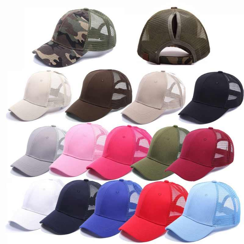 Ponytail Baseball Cap Hat Running Hiking Caps Adjustable Outdoor Mesh Sports Cap UV Protection for Women Men