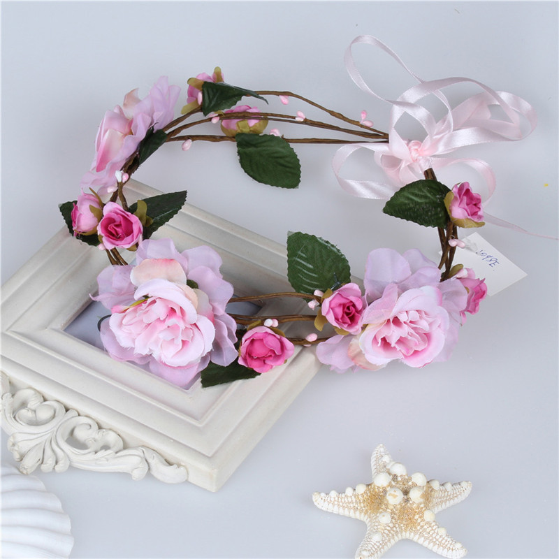 New Fashion Handmade Crown Rose garland Flowers Bridal Headband Kids Party Girls Hair Accessories Nice Gift Headwear For Women