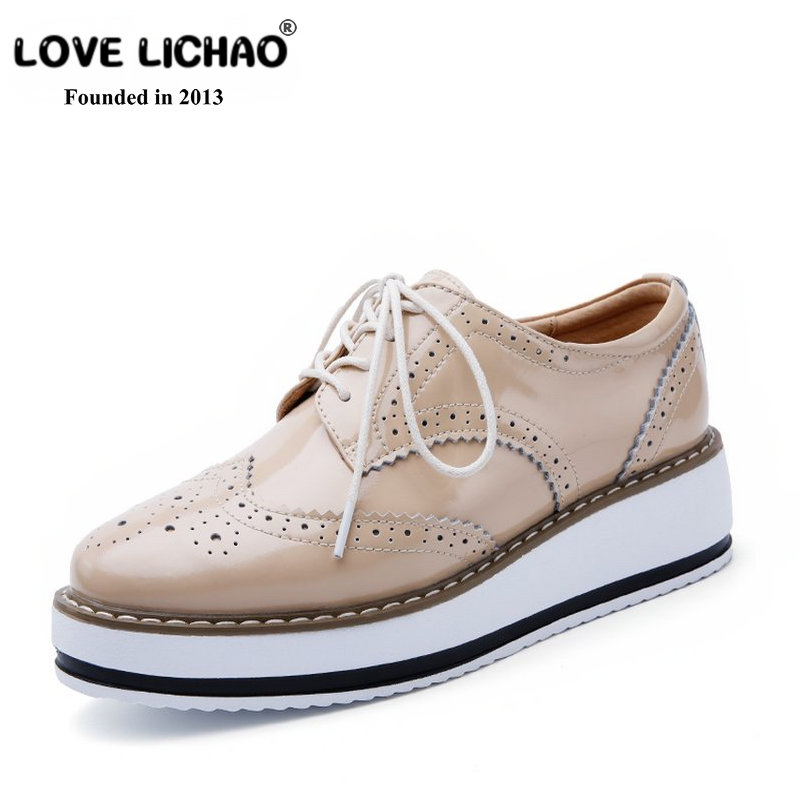 LOVE LICHAO Genuine Leather Oxfords Shoes For Women Round Toe Lace-up Flats Sneakers Women Plataform Casual Shoes Zapatos Mujer smile circle 2018 new genuine leather sneakers women lace up flats shoes women casual shoes round toe flats platform shoes c6004