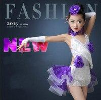 Children Latin Dance Costumes For Girls Fashion Tassels Sequined Latin Ballroom Dresses Modern Dance Costumes For