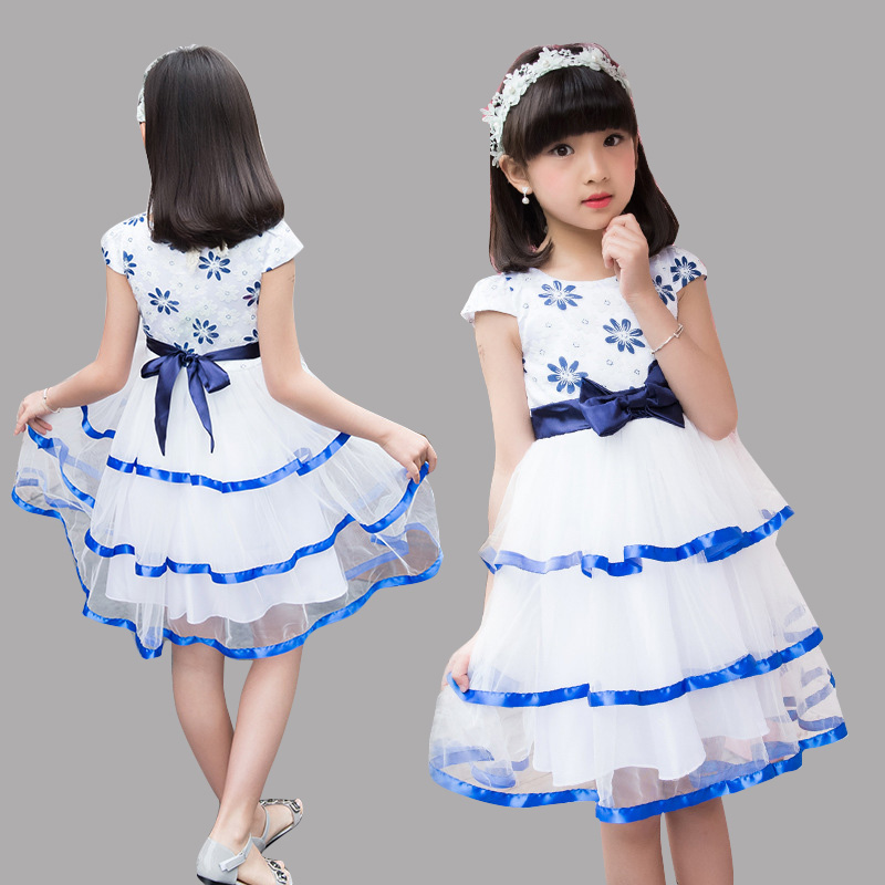 Kids Layered Princess Dresses For Party And Wedding Summer Flower Girls Dresses Ball Gowns Prom Evening Dresses 2 3 4 6 8 10 12Y girls dress 2017 new summer flower kids party dresses for wedding children s princess girl evening prom toddler beading clothes