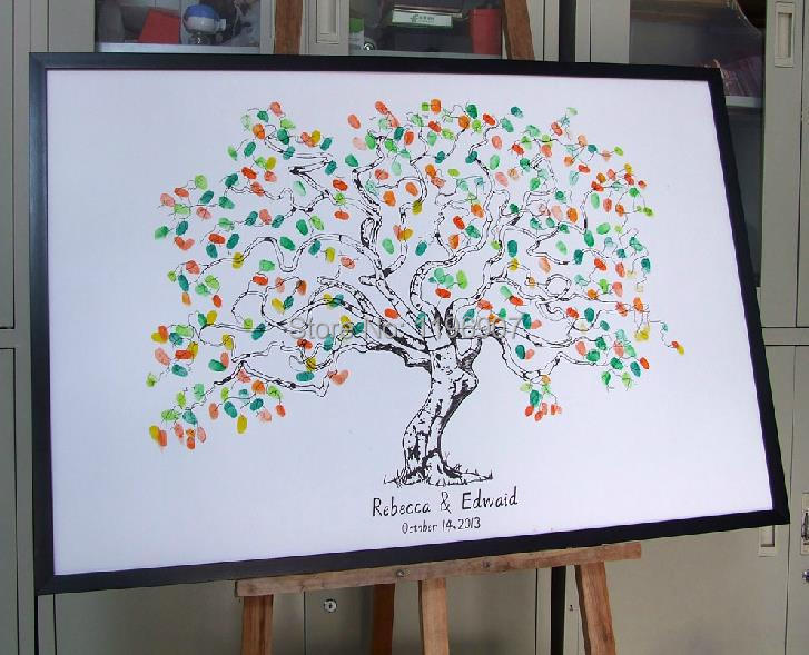 Customize Canvas Poster Vintage Fingerprint Wedding Tree Guest Book Bridal Shower Alternative Decorations In Cards Invitations From