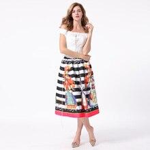 HIGH QUALITY Newest 2017 Designer Runway fashion Suit Set Women's Lacing Rope Crop Tank Top Vintage Printed Skirt Set