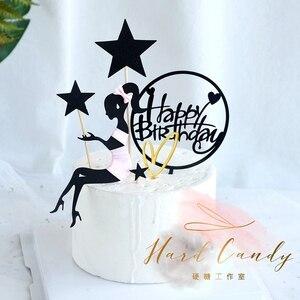 """Image 3 - Elegante Dame Schnurrbart Top Hut Bogen knoten Laser """"Happy Birthday"""" Kuchen Topper für Party Dekoration Dessert schöne geschenke"""