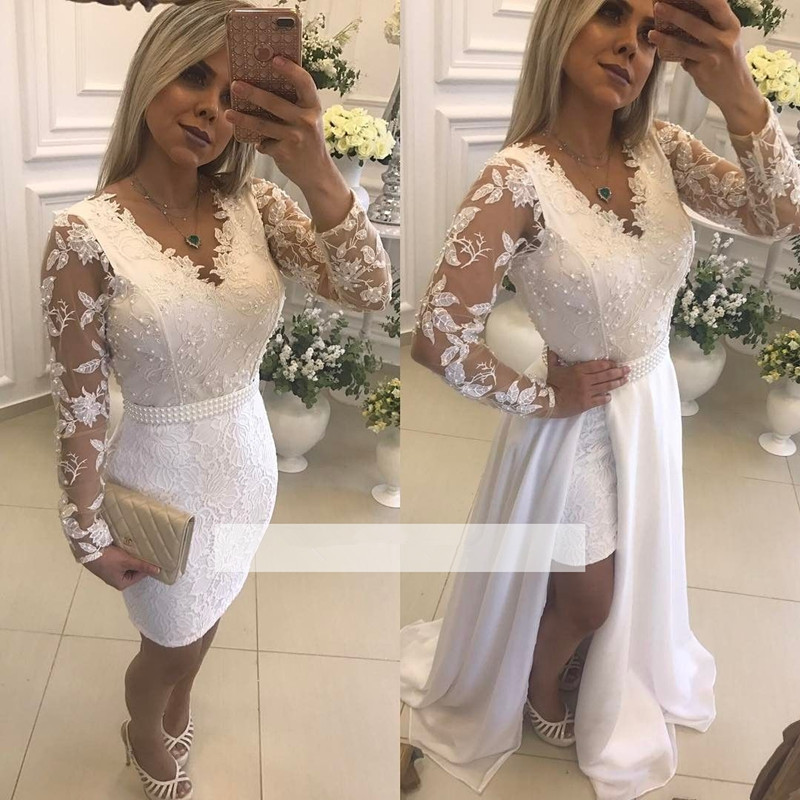 White Muslim Evening Dresses 2019 A-line V-neck Long Sleeves Lace Beaded Islamic Dubai Saudi Arabic Long Formal Evening Gown