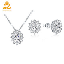 Trendy White Flower Wedding Jewelry Sets Natural Topaz Stone Necklace Earrings Set for Women Fine Jewelry