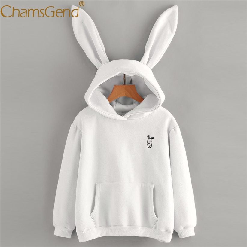 Chamsgend Hoodies Lapin Oreille sweat-shirt kawaii Sweat Femmes D'hiver Blanc Chaud Sweat Shirts Avec Poche Avant 71207
