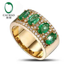 CaiMao 1.66 ct Natural Emerald 18KT/750 Yellow Gold 0.32 ct Full Cut Diamond Engagement Ring Jewelry Gemstone