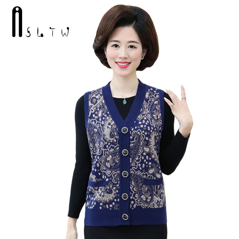 ASLTW Female Cardigan Sleeveless Sweater New Plus Size V Neck Print Floral Vest Women Sweater Outwear Vests Coat