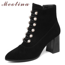 Meotina Winter Ankle Boots Women Kid Suede Pearl Block High Heel Short Boots Genuine Leather Zipper Shoes Female Autumn Size 39 цена 2017