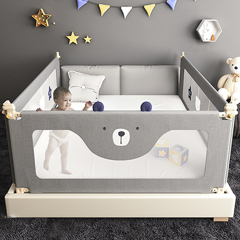 1.8-2 M Crib Fence Baby Shatter-resistant Protective Railing Child Safety Anti-drop Bed Guardrail