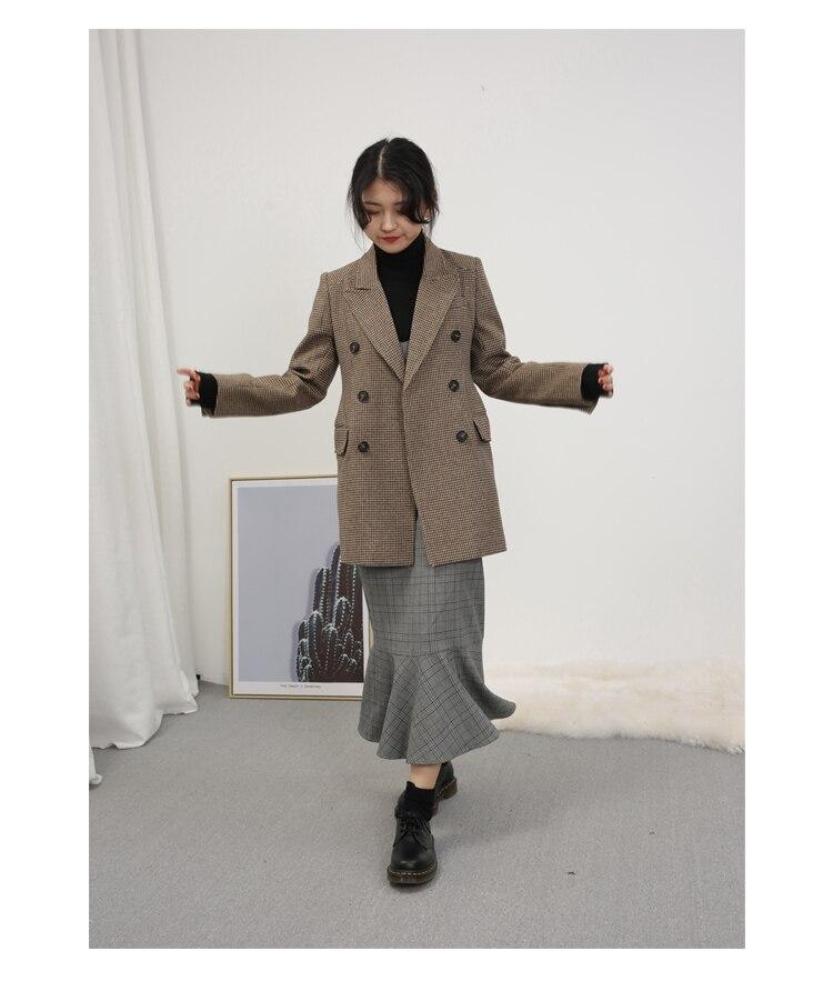 LKGHULO Vintage Anzug Jacke Elegante Formale Casual Mantel frauen Plaid Blazer Geometrische W274 - 5