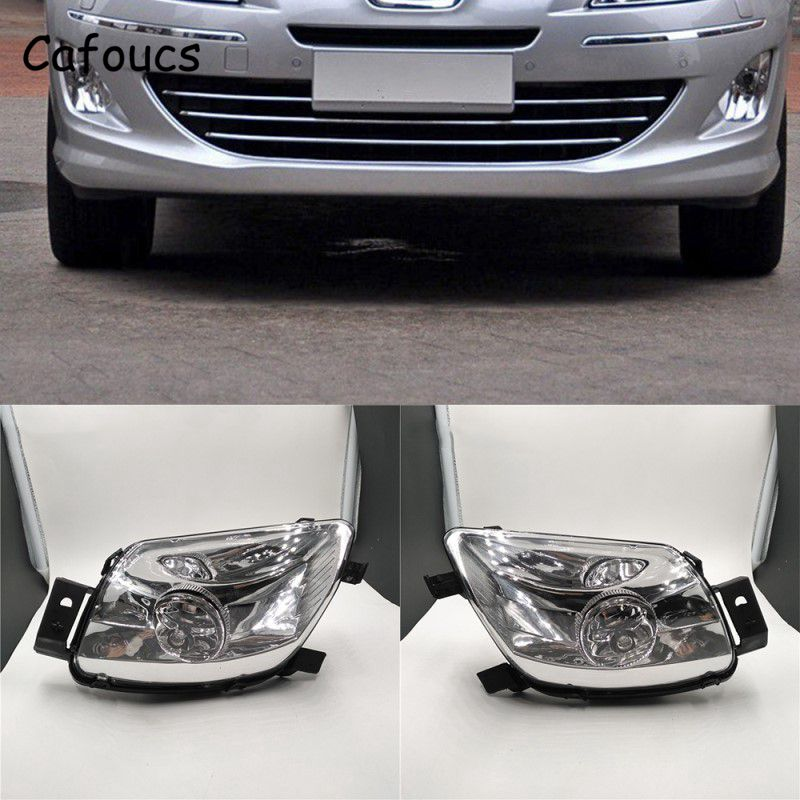 Cafoucs Car Fog lights For Peugeot 308 2007-2011 for 408 2008-2010 Front Bumper Driving Lamp With Bulbs car rear trunk security shield cargo cover for jeep compass 2007 2008 2009 2010 2011 high qualit auto accessories