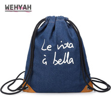 Wehyah Denim Drawstring Bag Women Men Casual Travel Storage String Package Functional School Backpack Pouch for Teenager  ZY100