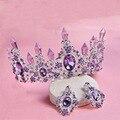 Purple Crystal Post Baroque Retro Crown Earrings Set Hair Ornament Bride Hair Hoop Crown Royal Princess Noble Crown Headdress