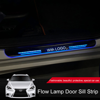 QHCP Acrylic Car Front Door Threshold LED Moving Light Scuff Guards Pathway Welcome Pedals Fit For Lexus IS250 200T 300 2Pcs/Set