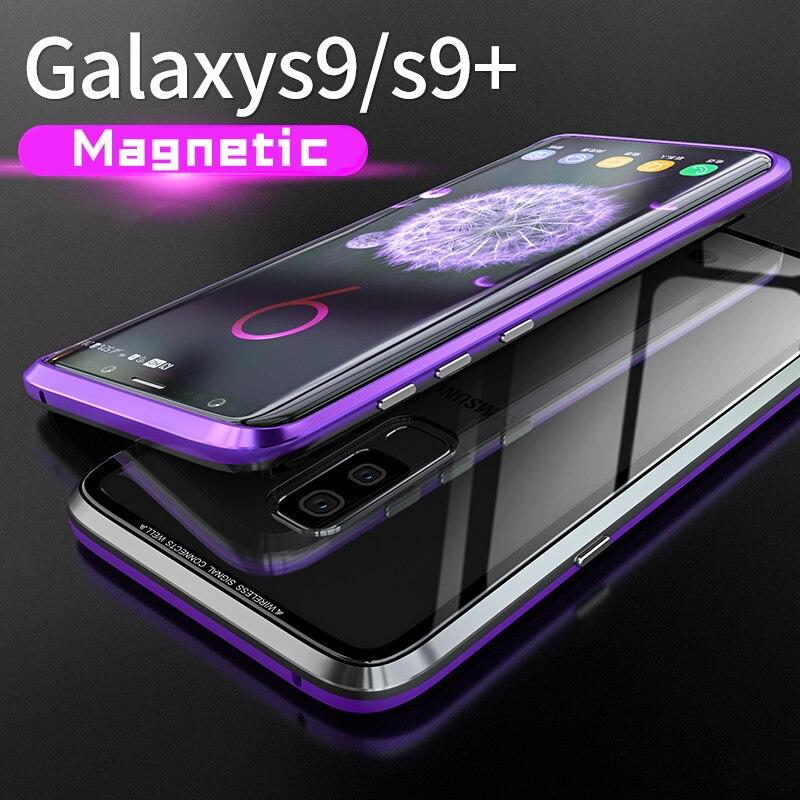 Originales de caja magnética para Samsung Galaxy S9 más de Metal de aluminio Marco de vidrio templado caso de la contraportada para galaxy S9