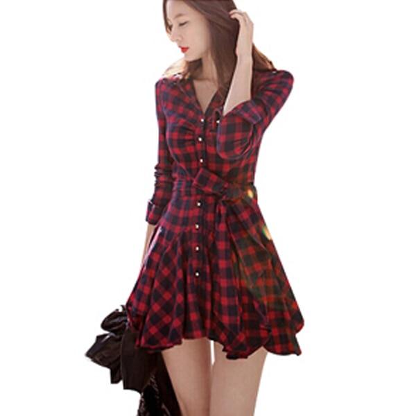 Red plaid dress casual women clothing cotton Fall spring korean fashion  long sleeve desigual office dress 815b6ecc8328