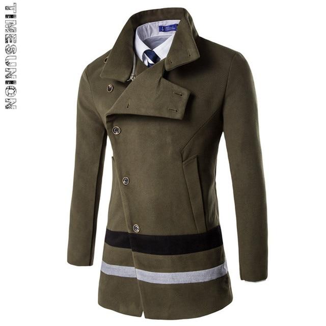 Nova moda primavera outono men stripe slim fit trench coat vintage casual mens longo casaco sobretudo windbreaker casacos